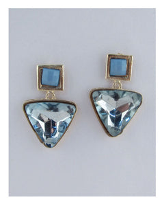 Faux crystal drop triangle earrings - Creole Couture Boutique