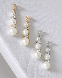 Pearl and Stone Studded Drop Earrings - Creole Couture Boutique