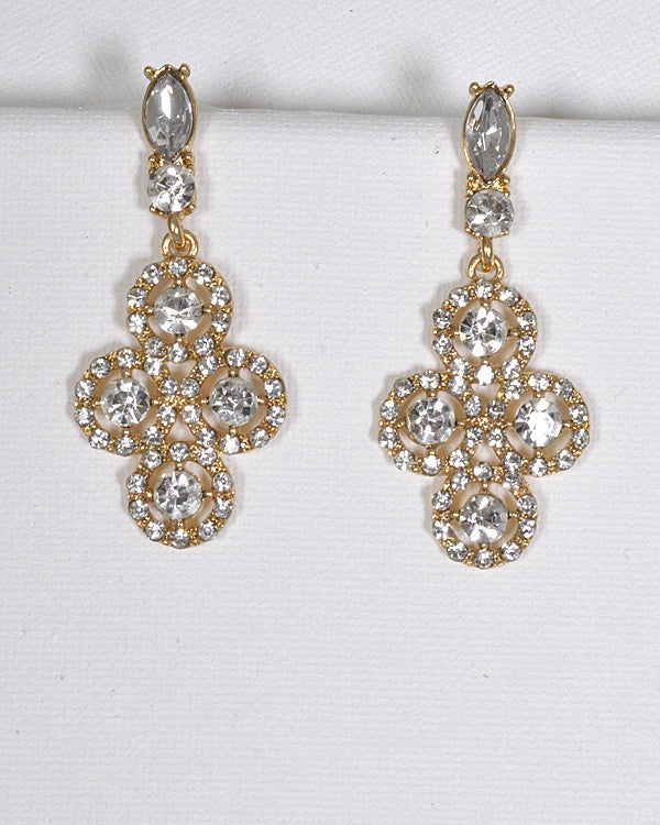 Crystal and Stone Studded Danglers - Creole Couture Boutique