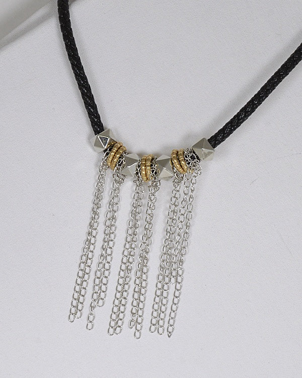 Metal Detailing Fringe Design Braided Necklace - Creole Couture Boutique