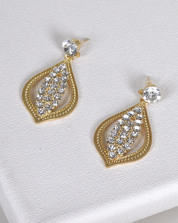 Crystal and Rhinestone Embellished Drop Stud Earrings - Creole Couture Boutique
