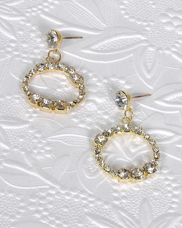 Crystal Inset Rhinestone Studded Circular Drop Earring - Creole Couture Boutique