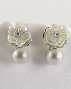 Floral pattern Pearl Embellished Drop Earrings - Creole Couture Boutique