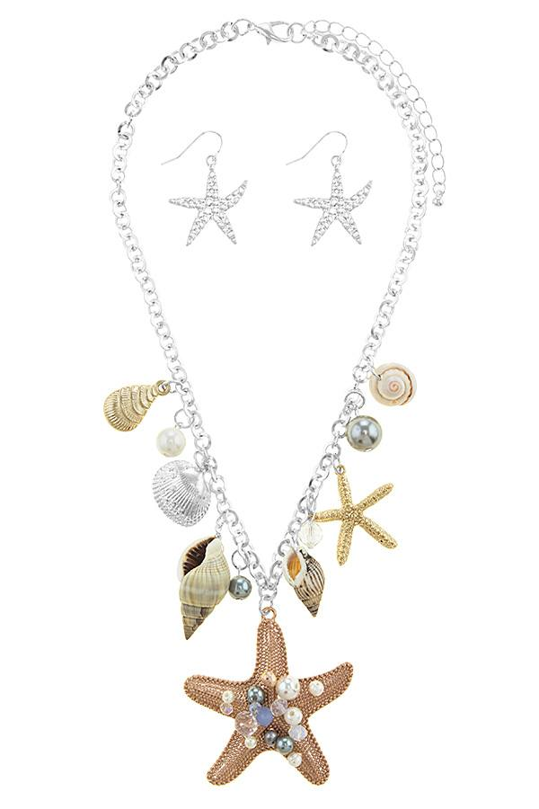 Oversize starfish station necklace set - Creole Couture Boutique