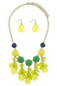 Colorful faux gem flower bib necklace set - Creole Couture Boutique