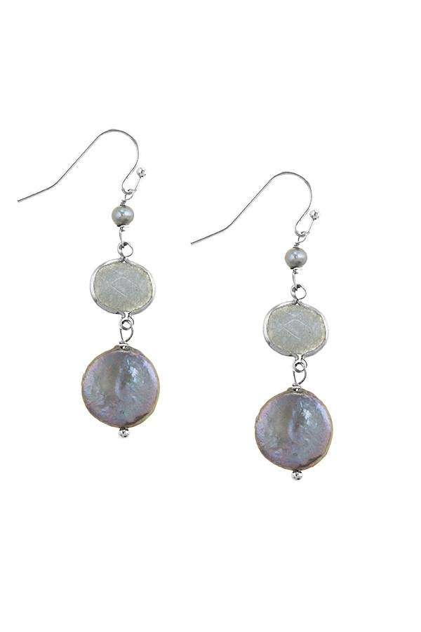 Mother of pearl accent disks drop earrings - Creole Couture Boutique