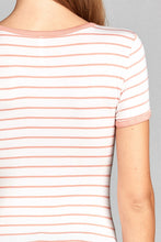Ladies fashion short sleeve round neck yarn dye stripe rayon spandex jersey top - Creole Couture Boutique