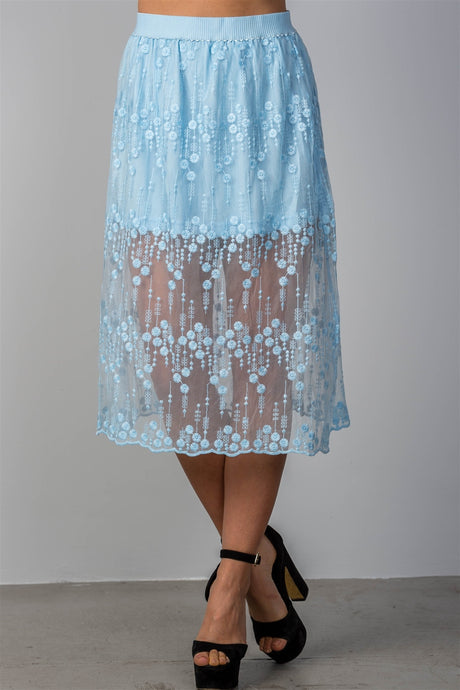 Ladies fashion boho elastic waist lined lace midi skirt - Creole Couture Boutique