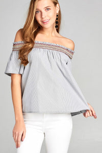 Ladies fashion short sleeve off the shoulder w/special smocked stripe woven top - Creole Couture Boutique