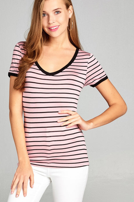 Ladies fashion short sleeve v-neck yarn dyed stripe rayon spandex top - Creole Couture Boutique