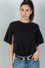 Ladies fashion black split short sleeve top - Creole Couture Boutique
