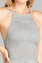 Ladies fashion halter neck w/smocked detail rayon spandex crop top - Creole Couture Boutique