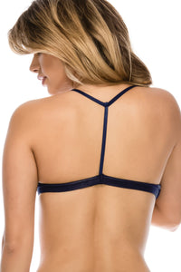 Ladies t-back strappy bralette with mesh overlay - Creole Couture Boutique