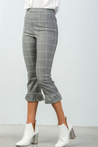 Ladies fashion all over pin stripes ruffle hem high waist culottes pants - Creole Couture Boutique