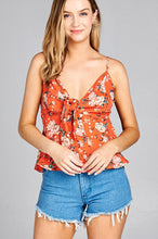 Ladies fashion heart neck w/self tie detail floral print cami woven top - Creole Couture Boutique