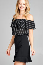 Ladies fashion off the shoulder w/ruffle elastic hem stripe print crop woven top - Creole Couture Boutique