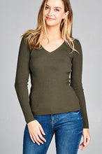Ladies fashion long sleeve v-neck fitted rib sweater top - Creole Couture Boutique