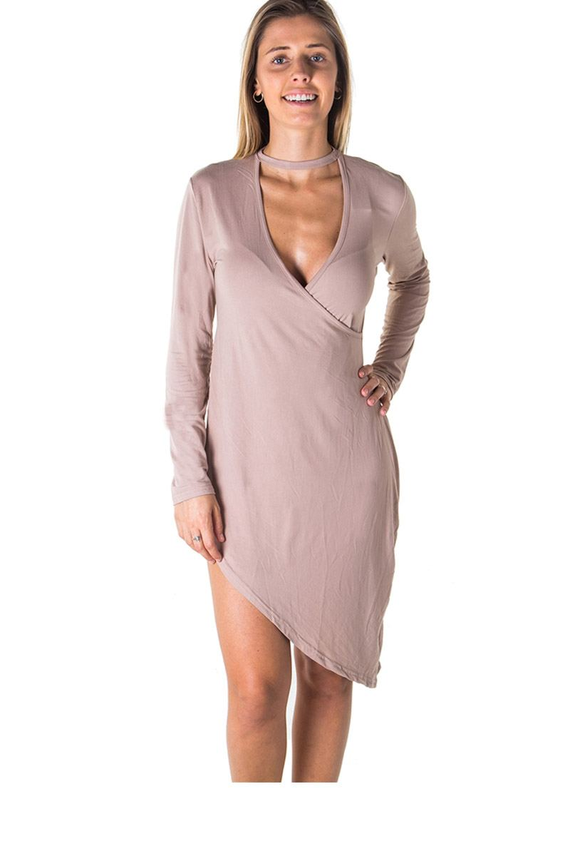 Ladies fashion choker asymmetric long sleeve mini dress - Creole Couture Boutique