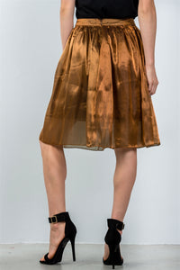 Ladies fashion mid length high waisted bronze pleated midi skirt - Creole Couture Boutique