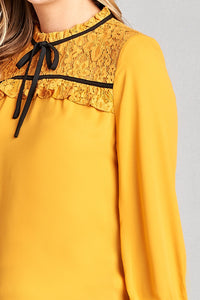 Ladies fashion  3/4 sleeve lace yoke detail w/contrast tie woven top - Creole Couture Boutique