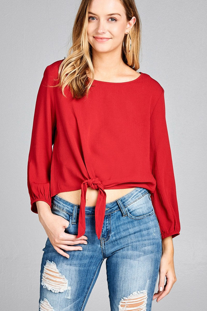 Ladies fashion long sleeve round neck front bow tie crinkle gauze woven top - Creole Couture Boutique