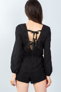 Ladies fashion black double tie-back long sleeve romper - Creole Couture Boutique