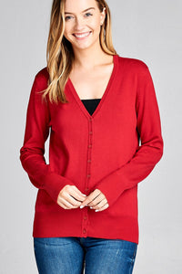 Ladies fashion long sleeve vneck classic sweater cardigan - Creole Couture Boutique