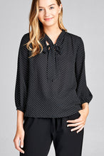 Ladies fashion 3/4 sleeve self bow tie neck back keyhole dot print woven top - Creole Couture Boutique