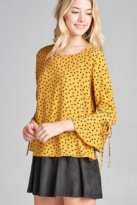 Ladies fashion  3/4 w/bell sleeve round neck dot print crepe woven top-id.CC35666 - Creole Couture Boutique