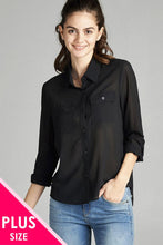 Ladies fashion  long sleeve front pocket chiffon blouse w/black button detail - Creole Couture Boutique