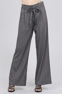 Ladies fashion high waist w/self belt long leg wide pinstripe woven pants-id.CC35746 - Creole Couture Boutique