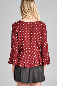 Ladies fashion 3/4 sleeve v-neck w/shirring detail flared hem dot print woven top-id.CC35748a - Creole Couture Boutique