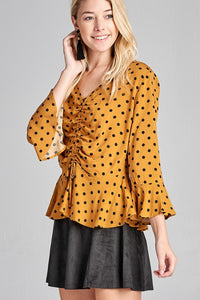 Ladies fashion 3/4 sleeve v-neck w/shirring detail flared hem dot print woven top-id.CC35748b - Creole Couture Boutique