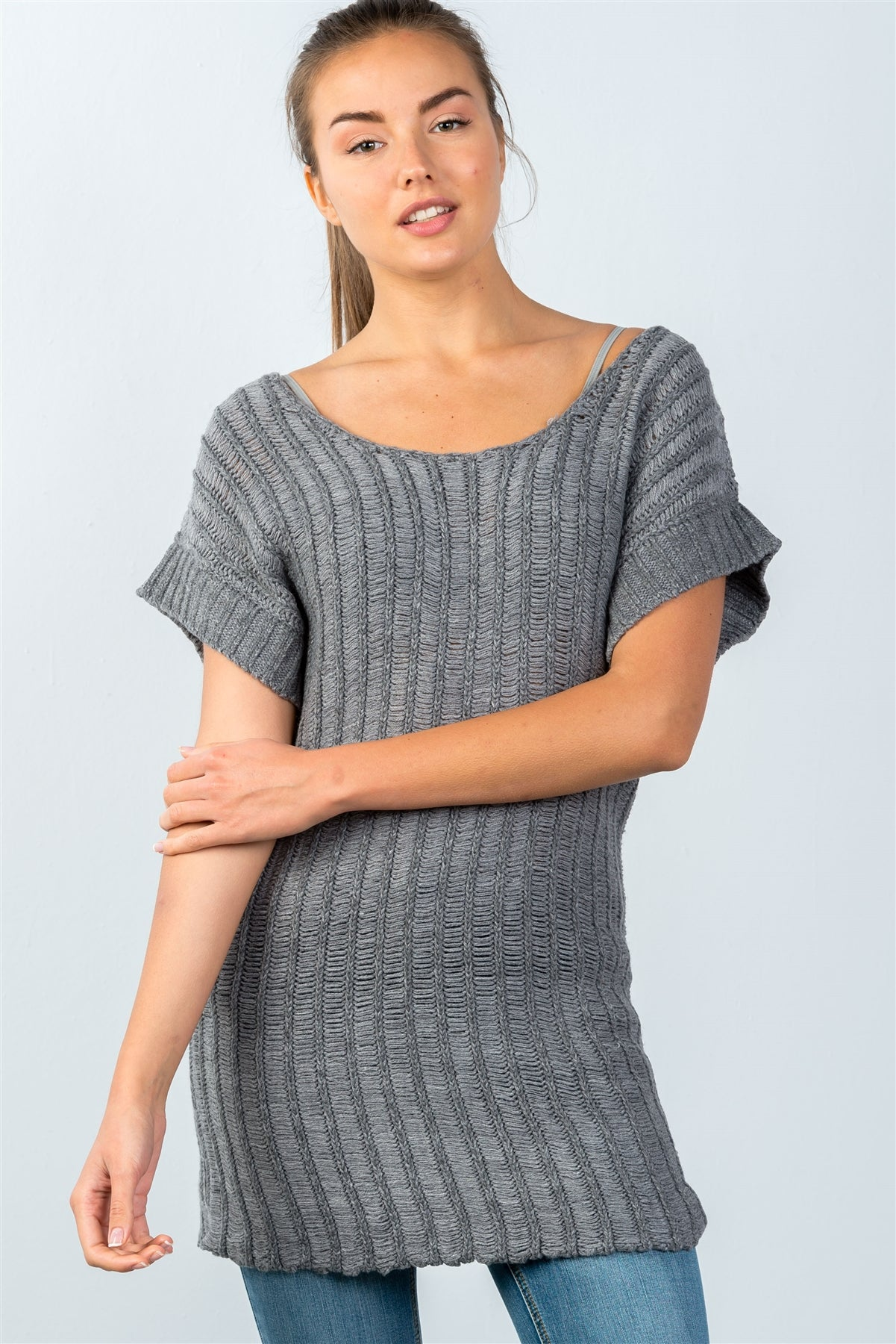 Ladies fashion scoop neckline short-sleeve open knit sweater -id.CC35749b - Creole Couture Boutique