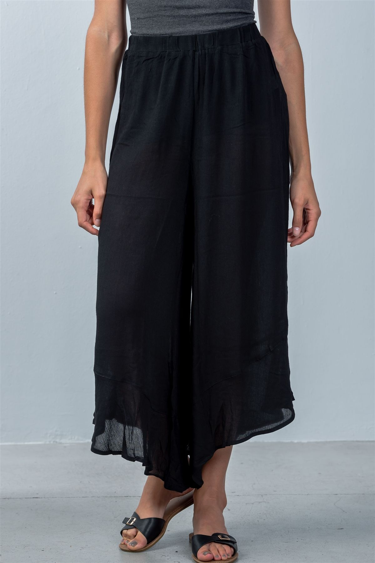 Ladies fashion sheer elastic waistline  black flare wide leg culotte-id.CC35754 - Creole Couture Boutique