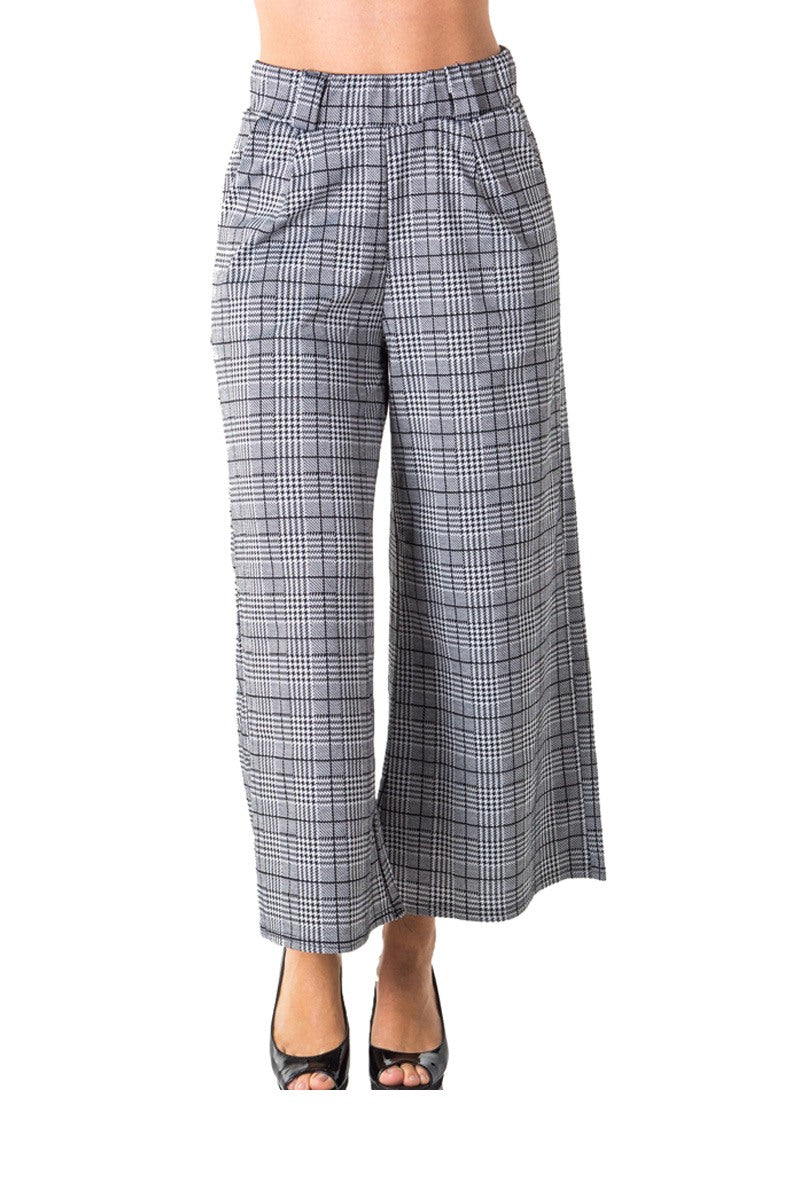 Ladies fashion casual plaid pants, high waist, wide leg & 2 front pockets - Creole Couture Boutique