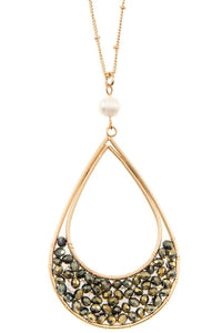 Woven bead teardrop pendant long necklace - Creole Couture Boutique