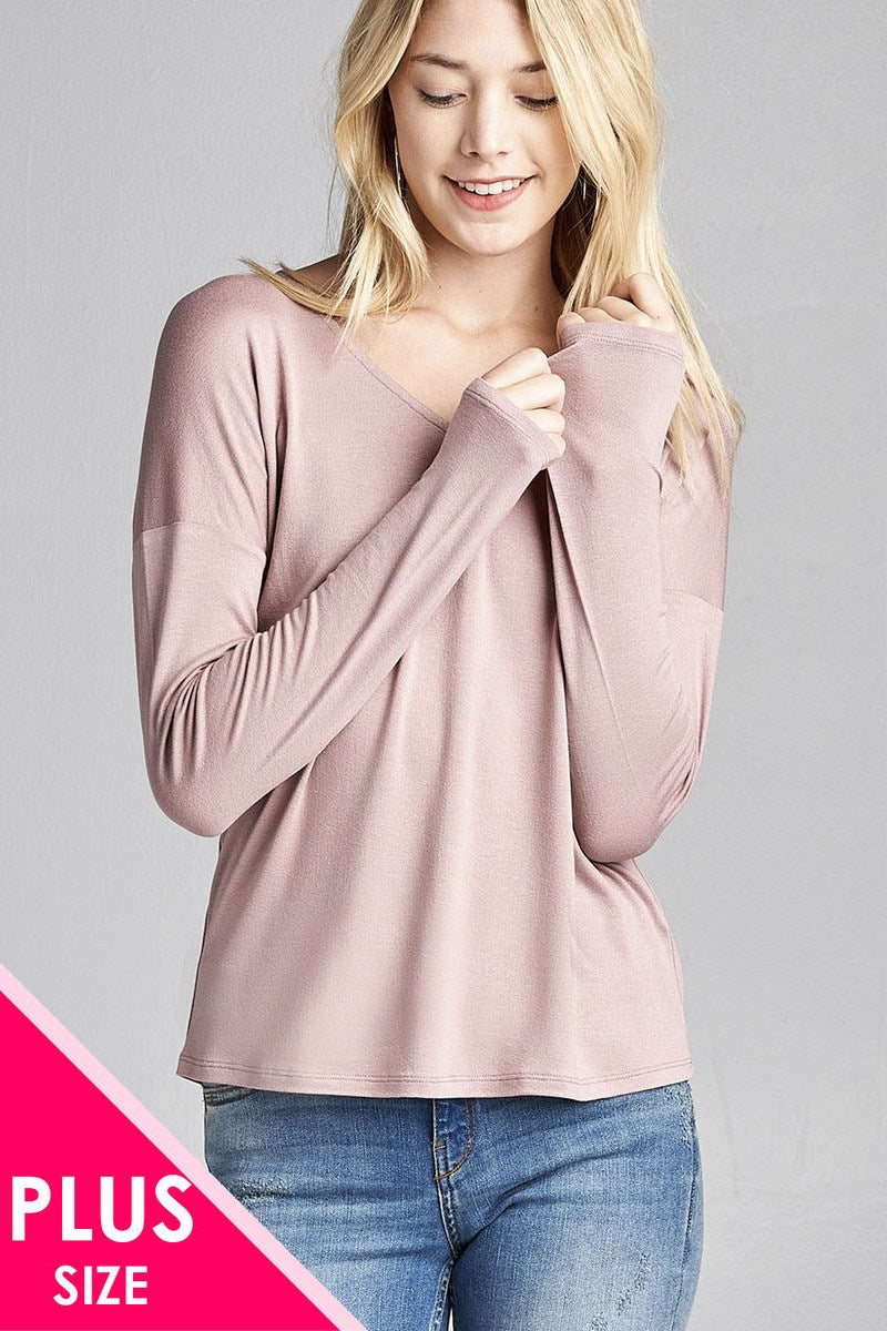 Ladies fashion  long dolman sleeve v-neck rayon spandex knit top - Creole Couture Boutique