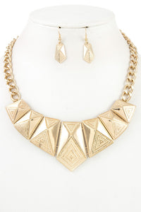 Faceted triangle metal link bib necklace set - Creole Couture Boutique