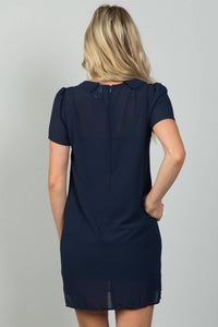 Ladies fashion navy sheer overlay mini dress - Creole Couture Boutique