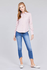 Ladies fashion  long sleeve button down stretch shirt - Creole Couture Boutique