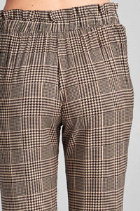 Ladies fashion  self ribbon detail long leg checked print woven pants - Creole Couture Boutique