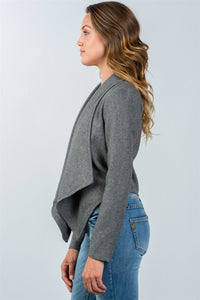 Ladies fashion charcoal irregular hem open front cardigan - Creole Couture Boutique