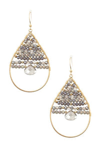 Wired bead gem accent teardrop dangle earring - Creole Couture Boutique