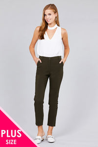 Ladies fashion  seam side pocket classic long pants - Creole Couture Boutique