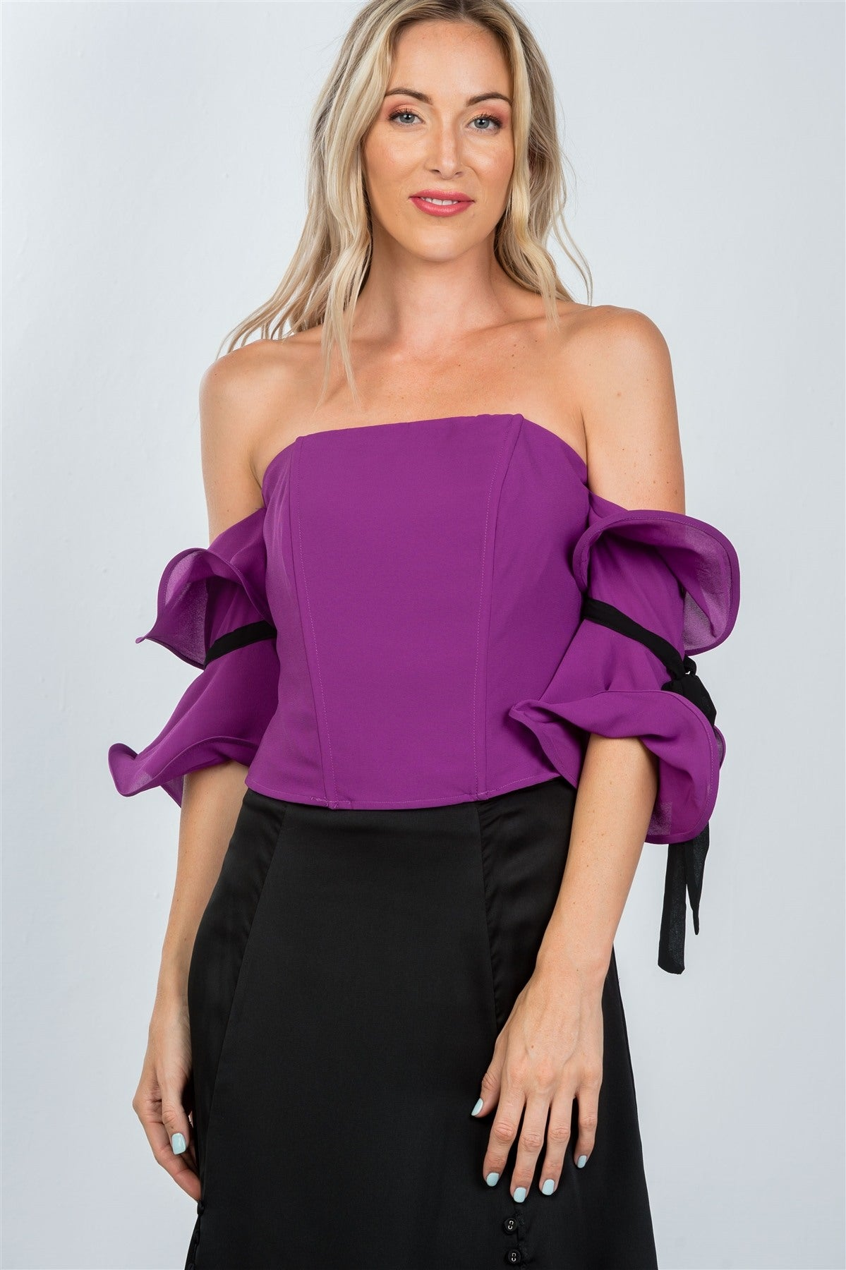 Ladies fashion purple wired ruffle off the shoulder top - Creole Couture Boutique