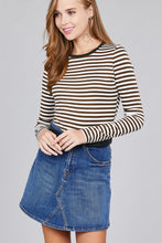 Ladies fashion long sleeve crew neck striped dty brushed top - Creole Couture Boutique