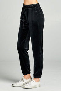 Ladies fashion  waist drawstring velvet jogger pants - Creole Couture Boutique