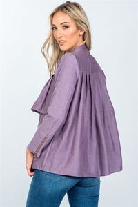 Layer pleated button down top - Creole Couture Boutique