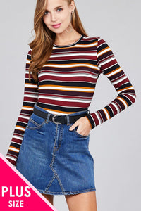 Ladies fashion  long sleeve crew neck multi striped dty brushed top - Creole Couture Boutique